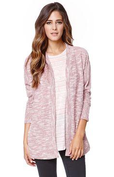 """A PacSun.com Online Exclusive!The women'sMarled Open Cardigan by LA Hearts for PacSun.com features a soft, light weight construction and open front. We love the oversized dolman style. Layer this cardigan over your dresses or casual outfits this season!28"""" length20"""" sleeve lengthMeasured from a size smallModel is 5'9"""" and wearing a small85% polyester, 15% rayonHand wash onlyMade in USA"""