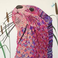 Otter - The Menagerie Portraits of Animals to Color - coloured by C.Ishii