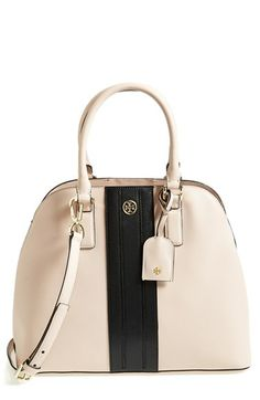 omg black and burgundy I LOVEEEEE THIS BAG!!!!Tory Burch Colorblock Leather Dome Satchel available at #Nordstrom
