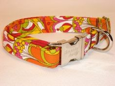 60's Chic Retro Dog Collar by Swanky Pet. Pink and orange paisley dog collar.