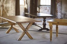 """Basset custom 72"""" Farmhouse TableI like the middle table and the right hand one"""