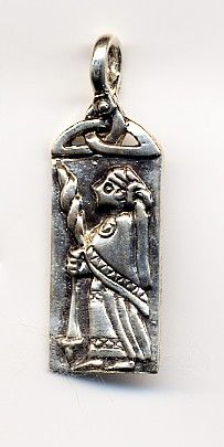The Goddess Frigga with spindle and distaff. Beautiful! (edit -- I do not believe this to be a period piece!)