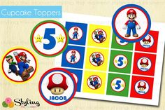 Super Mario Bros Cupcake Toppers AND Wrappers by Stylingthemoment, $7.50