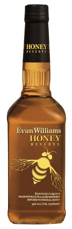 Evan Williams Honey Reserve Kentucky Liqueur, a new product that marries extra-aged Evan Williams Bourbon with real, natural honey. Alcohol Bottles, Bottles And Jars, Honey Whiskey, Honey Wine, Rye Whiskey, Honey Label, Evan Williams, Honey Packaging, Save The Bees