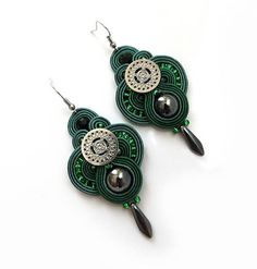 Forest green earrings soutache earrings sparkle  dark by sutaszula