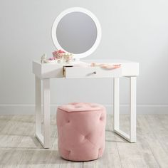 When you're playing dress up, you need to look your best. Luckily, our Starlet Vanity has an adjustable mirror so you can do your make-believe hair and makeup and never be out of style. Its roomy tabletop and drawer are great for accessories.