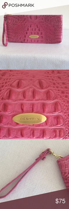 """BRAHMIN Melbourne Wristlet Brahmin Rosalyn Melbourne Wristlet in excellent condition.  There is some wear on the brass hook as disclosed in pic no. 5.    Details:  *Color:  Dahlia Pink *Materials:  Brass; leather, croc embossed *Brahmin signature interior lining.  *Interior zip pocket *Removable Wristlet strap.  *Measurements:  10.5"""" L x 5.5"""" H.  #brahmin #brahminwristlet Brahmin Bags Clutches & Wristlets"""