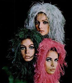 Models wearing Christian Dior ostrich hoods, 1965