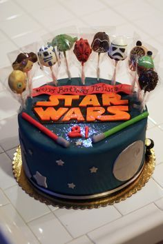 My Star Wars 21st Birthday Cake with Cake Pops on top!