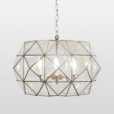 """ELTE Faceted Diamond Pendant $995. 24"""" round x 14"""" h. Requires 3 - 40w candelabra bulbs. Very pretty in person."""