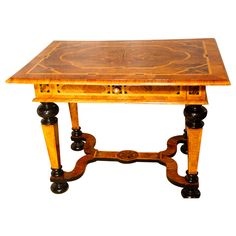 Baroque Table with Walnut and Yew Marquetry