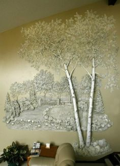 Tom Moberg Gypsum plaster wall sculpture incorporates a swinging bridge in the background. Plaster Art, Plaster Walls, Plaster Crafts, Mural Art, Wall Murals, Wall Art, Wall Sculptures, Sculpture Art, Decoration