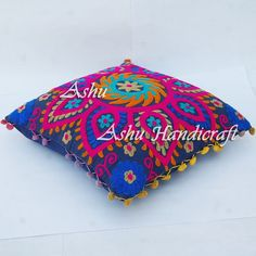 16'' Indian Cotton Embroidery Suzani Design Pom Pom Decor Cushion Pillow Cover 3 #AshuHandicraft #ArtDecor