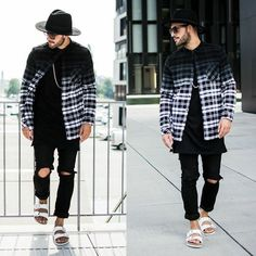 H&M Fedora, H&M Flannel, Visionary Long Tee With Sidezip, H&M Custom Skinny Jeans, Birkenstock Sandals