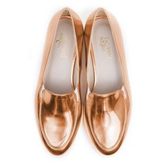 Beyond Skin Charlie vegan flat pump made from rose gold metallic synthetic faux leather with thick white EVA sole 100% Vegan, vegetarian and cruelty-free.