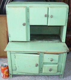 Antique Handmade Green Childs Doll Sideboard Hutch Cabinet Hoosier-RARE-Salesman