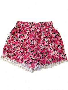 Red Floral Printed Mini Ball Hem Elastic Waist Short Pants
