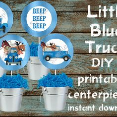 Little Blue Truck Centerpieces, Little Blue Truck Party Supplies - Theon Kim 2nd Birthday Boys, Second Birthday Ideas, Blue Birthday, First Birthday Parties, Birthday Board, Birthday Centerpieces, Blue Centerpieces, Little Blue Trucks, 1st Birthdays
