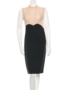 Nude and black Derek Lam ruffle-trimmed sheath dress with with pleated and ruched detail at front, scalloped detail at waist, vent at back, button closure at back and concealed zip closure at side.