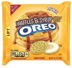 (Pack of New release limited edition Oreo Waffles & Syrup. Golden Oreo cookies with maple syrup flavored fillings Available only for a very limited time. Weird Oreo Flavors, Pop Tart Flavors, Cookie Flavors, Gross Food, Weird Food, Sandwich Cookies, Oreo Cookies, Baby Food Recipes, Snack Recipes
