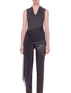 Sleeveless Draped-Waist Tee, Black by Akris at Neiman Marcus.
