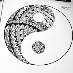 from @taisule - Yin yang awesome work Tag a friend and to like Follow us for more great art @mindfulness.mandalas #zentangle #blackandwhite #doodle #photooftheday #sketchbook #zentangled #zen #zendoodle #mandala #doodleart #zenart #doodles #doodler #sketch #drawing