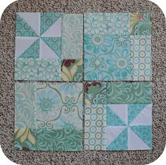 Great twist on the disappearing 9 block pattern. So cute!