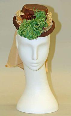 Hat 1870, American, Made of silk