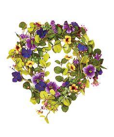 """Look at this #zulilyfind! 22"""" Purple Mxd Wreath W/pansies #zulilyfinds"""