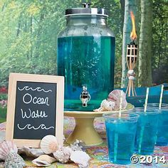 Ocean water Make a sweet splash at your beach bash and sip up in seaworthy style with your own Ocean Water drink. With just two simple ingredients, this kid-friendly luau drink is the perfect way to make waves at your party. Ingredients: Sprite Blue Food Coloring Add blue food coloring to Sprite and serve in a clear drink despenser.