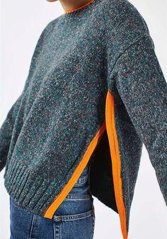 Dark Green Irregular Round Neck Long Sleeve Casual Pullover Sweater