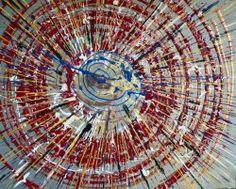 """Giuseppe Marchetti (Italy) """"9_13"""" Smalti sintetici, antiruggine ferromicaceo, pigmento metallico color oro, su cartone telato rinforzato da montatura in legno sul retro. cm. 40x50"""