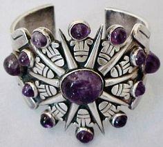 Cuff bracelet | William Spratling. Sterling silver with amethysts. ca. 1931 - 1946