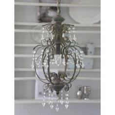 Chic Antique Chandelier With Prisms   Antique Grey Amazing Pictures