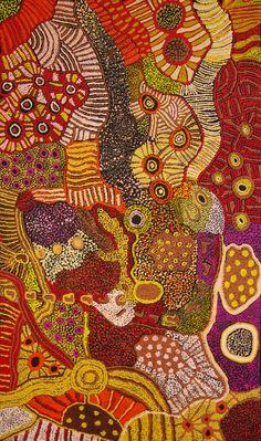 Australian Aboriginal Art Painting by Kay Baker Tunkin 'Minma Marlilu Tjukurrpa Aboriginal Dot Art, Aboriginal Painting, Aboriginal Artists, Dot Painting, Indigenous Australian Art, Indigenous Art, Aboriginal Art Australian, Art Du Monde, Art Brut