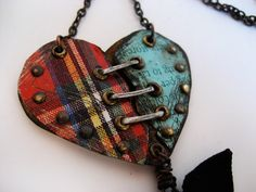 Coraline's Heart Reclaimed tin mixed media necklace for so charmed. Jewelry Crafts, Jewelry Art, Jewelry Necklaces, Handmade Jewelry, Jewelry Design, Unique Jewelry, Jewlery, Key To My Heart, Heart Art