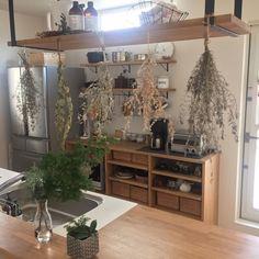 Emiさんの、キッチン,無印良品,造作家具,無垢材,ドライグリーン,無印良品 収納,無印良品 ラタンボックス,のお部屋写真