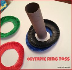 Olympic Ring Toss Game- make the rings with paper plates.  Great hand-eye coordination, colour recognition, patterning for preschoolers. #Olympics