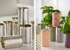 another idea for tin cans.fill tins with water and freeze.then, with phillips head screwdriver and hammer, punch them, you can be random or do a pattern.makes really pretty candle holders. Diy Projects To Try, Projects For Kids, Holiday Crafts, Fun Crafts, Diys, Creation Deco, Diy Interior, Interior Design, Candle Holders