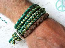 Armband Unisex grün -türkis - gelb Männer Kordel
