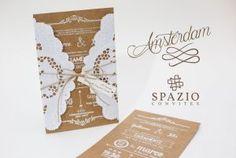 Convites de casamento com papel rendado!