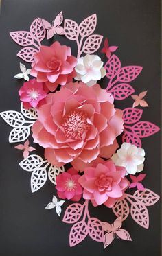 1 set of paper flower collage, in hot pink, pale pink, baby pink and white.  This listing includes: 1 big peony - 15.5 inches  2 small dahlia - 8 inches  4 extra small magnolia - 5.5 inches  8 - leaves - 12 inches  6 butterflies - 2.5 to 4 inches  CUSTOM ORDERS WELCOME!!!  Send us custom order request with color preference and date of your event. This listing can be made in any size or colors. Each flower is individually designed and custom made. Each flower may slightly vary in design since…