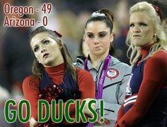 McKayla joins the Arizona cheerleaders like only she can during Oregon's Sept. 22, 2012, shutout at Autzen Stadium.