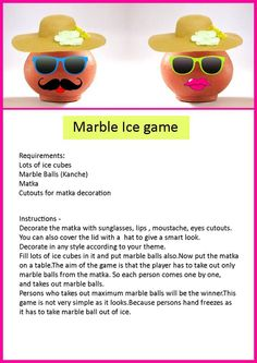 Marble ice game is very entertaing game for ladies kitty party...