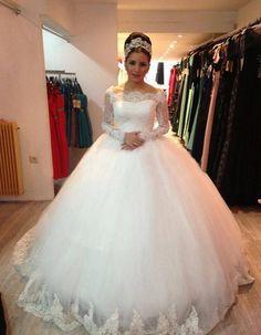 Vestido De Noiva New Design Custom-made Lace Long Sleeve Puffy Wedding Gown 2015 Brides Wedding Dress Robe De Mariage