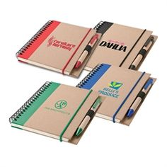 """Spiral bound 70-page notebook with recycled paper cover and ballpoint pen barrel and 5"""" x 7"""" 30% recycled lined paper."""