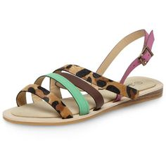Leopard and green flat sandals