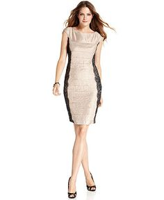 London Times Dress, Cap-Sleeve Lace Tiered - Womens Dresses - Macy's