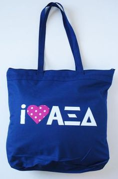 I heart Alpha Xi Delta tote bag in navy