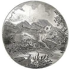 ButtonArtMuseum.com - 18th c. engraved silver hunt button. Silver Buttons, Metal Buttons, Vintage Buttons, Button Picture, Button Art, Precious Metals, 18th Century, Cover Design, Metal Working